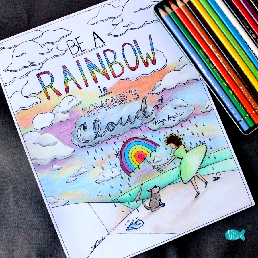 Rainbow in Someone's Cloud Quote Coloring Page for Adults