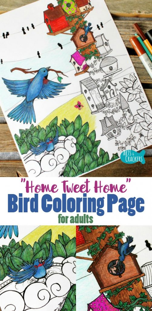 """This whimsical bird coloring page for adults is so fun to color with its quirky birdhouses, hidden fairies, and celebrates """"Home Tweet Home."""" Adult Coloring, Coloring Pages for Adults, Coloring Page, Free Coloring Page, Printable Coloring Pages, Birds, Bird Lover, Bird Coloring Page, Birdhouses, Birdhouse Coloring Page, Whimsical Coloring Pages, Detailed Coloring Pages, Indie Art"""