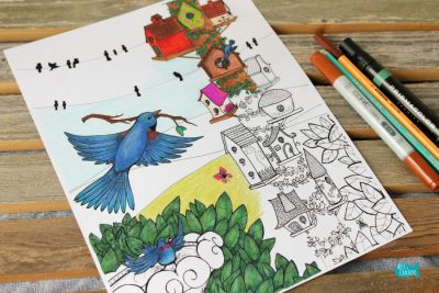 Birds Coloring Page Home Tweet Home Angle Cover