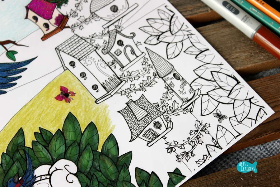 Birds Coloring Page Home Tweet Home Birdhouses Whimsical