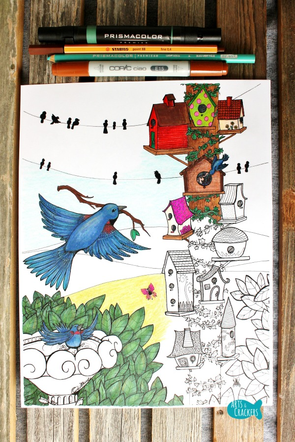 Birds Coloring Page Home Tweet Home Long