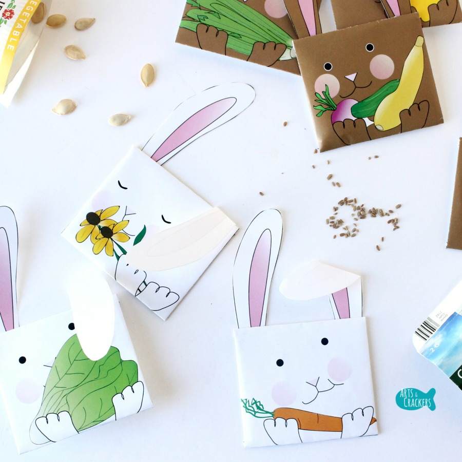 Bunny Seed Packet Envelopes for Spring Seeds Square