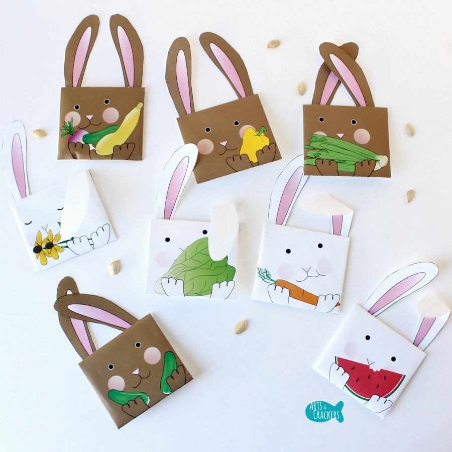 Bunny Seed Packet Envelopes for Spring Square