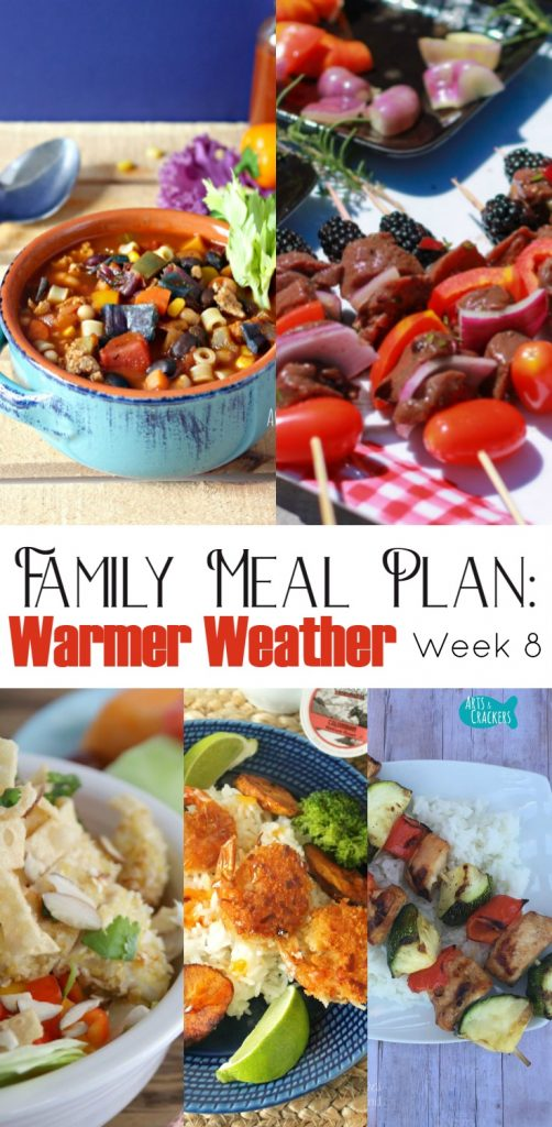 7 Day Meal Plans for Families, week 8 menu | Easy Meal Planning | Family Meal Plan | Family Dinner | Dinner Ideas | Dinner Recipes | Entree Recipes | Meal Planning | 7-Day Meal Plan | Recipes | Warm Weather Recipes