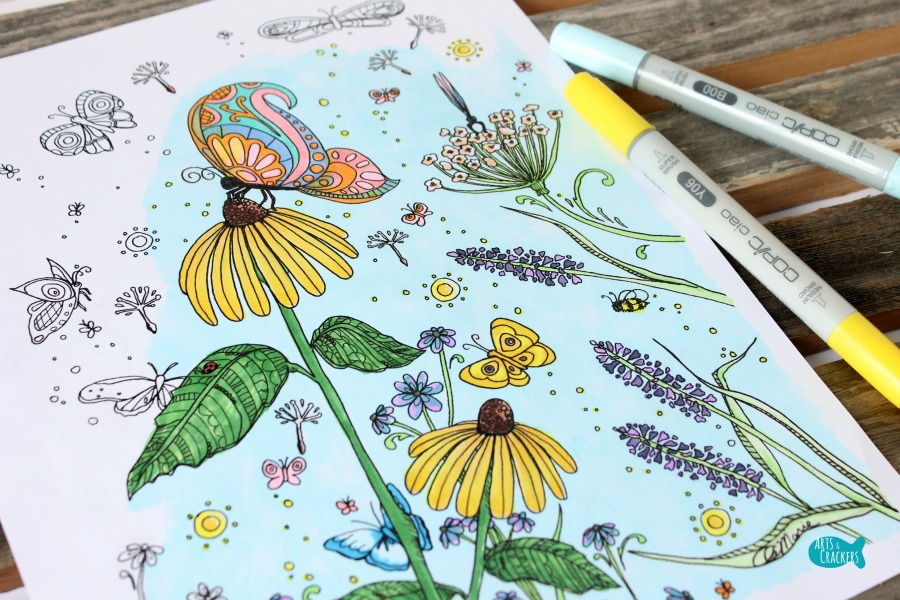 Butterfly Garden Butterfly Coloring Page for Adults Close