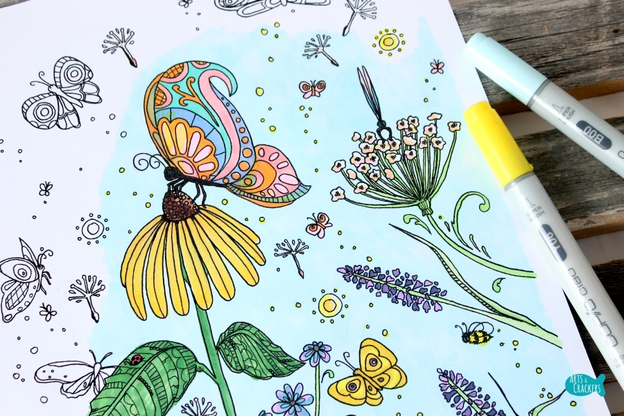 Butterfly Garden Butterfly Coloring Page for Adults on a Flower