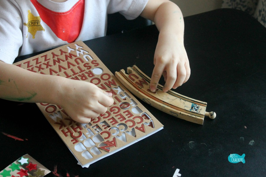 Wooden Train Tracks with Wheels Craft Stickers