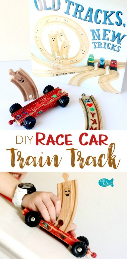 "Race Car Wooden Train Tracks with Wheels Craft for Kids, Inspired by the children's book ""Old Tracks, New Tricks"" 
