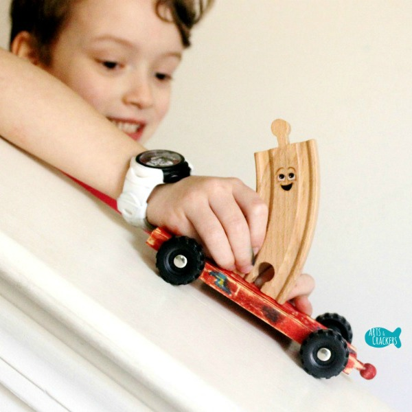 Wooden Train Tracks with Wheels Craft Square
