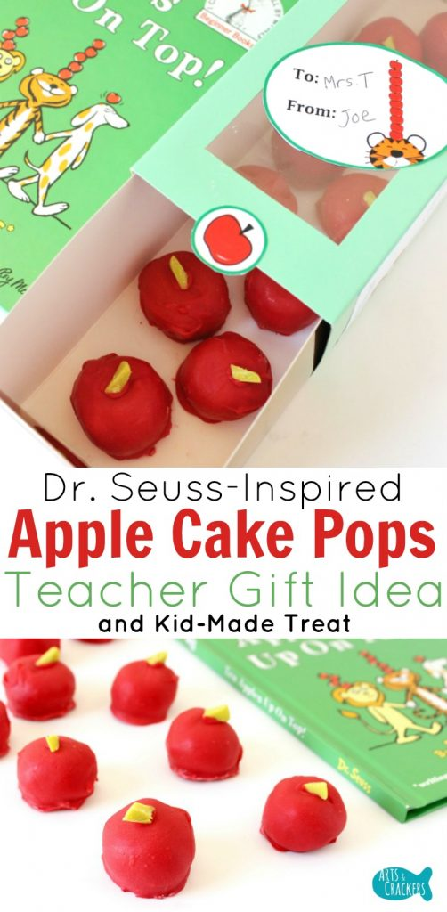 Surprise a special teacher with this Dr. Seuss-Inspired Apple Cake Pops Teacher Gift Idea | Teacher Appreciation | Back to School | Ten Apples Up on Top | Oreo Ball | Apple Bon Bons | Teacher Printables | Kid Made