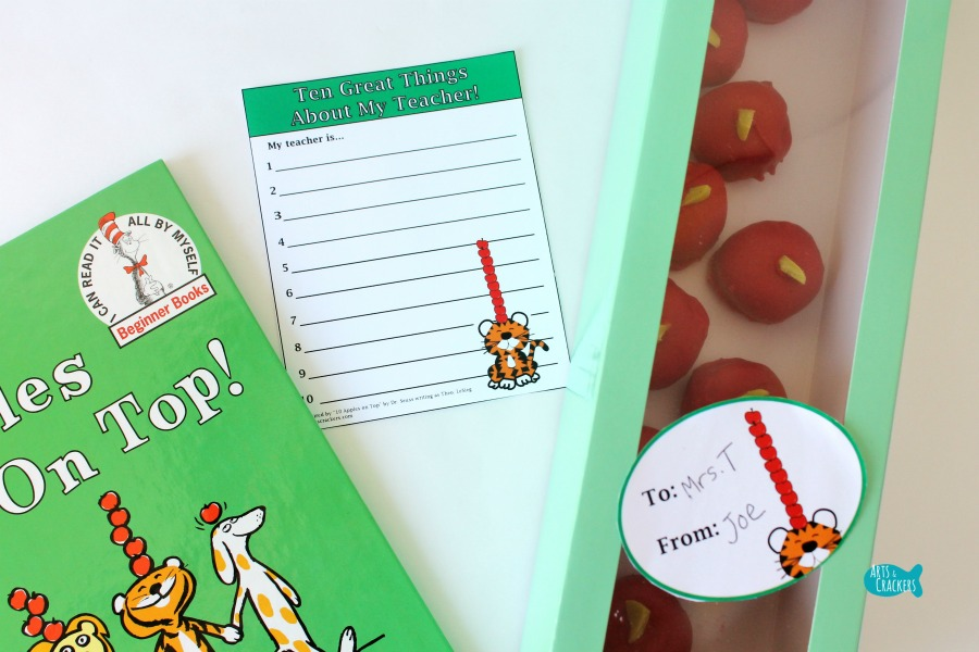 Apple Cake Pops Teacher Gift Idea Note Card