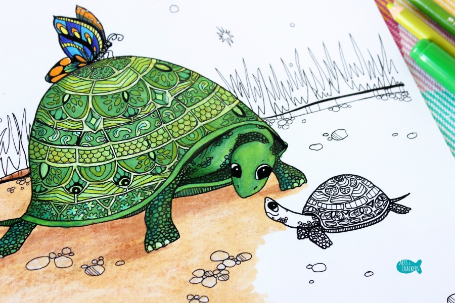 Together Turtles Coloring Page for Adults Close