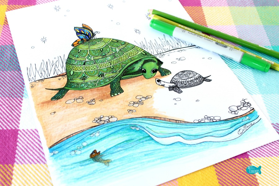 Together Turtles Coloring Page for Adults Horizontal