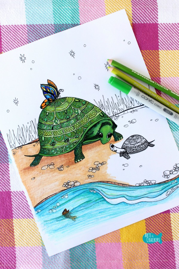 Together Turtles Coloring Page for Adults Long
