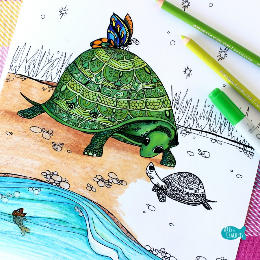 """""""Turtles Together"""" Turtle Coloring Page for Adults 