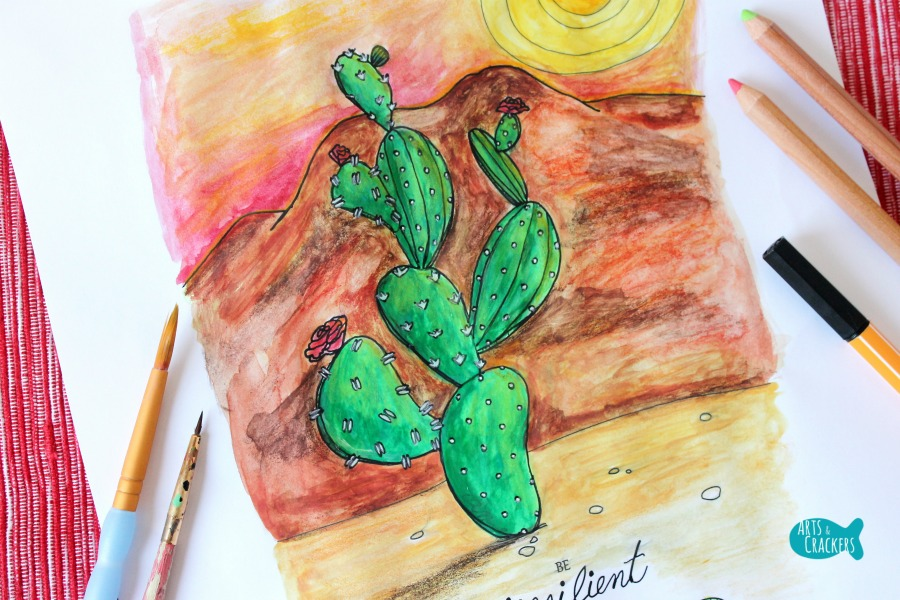 Cactus Quote Coloring Page Close