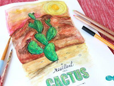 Cactus Quote Coloring Page Landscape