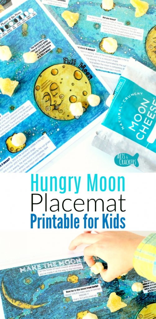 Make mealtime easier and snack time more fun and educational with this outer space moon printable placemat for kids.