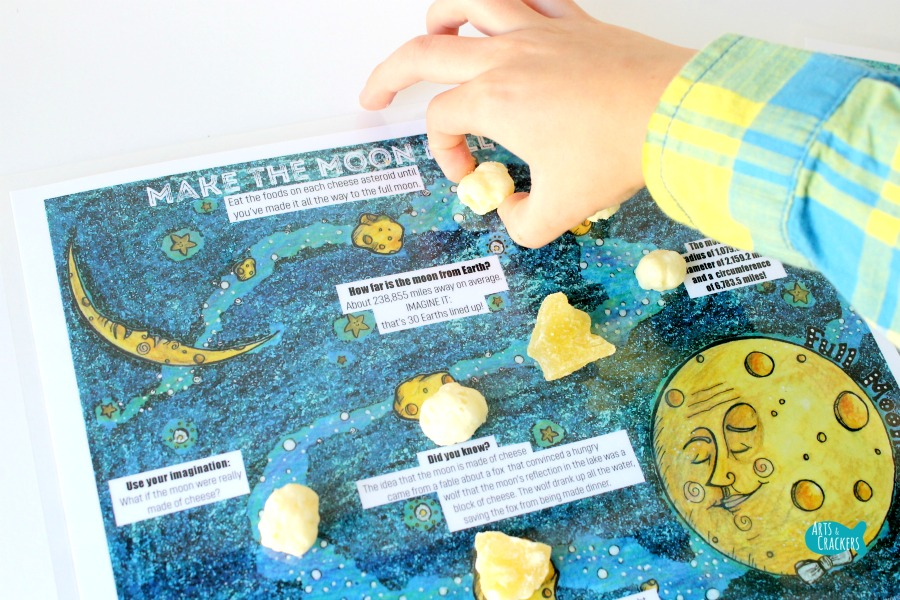 Hungry Moon Snack Printable Placemat for Kids Hands