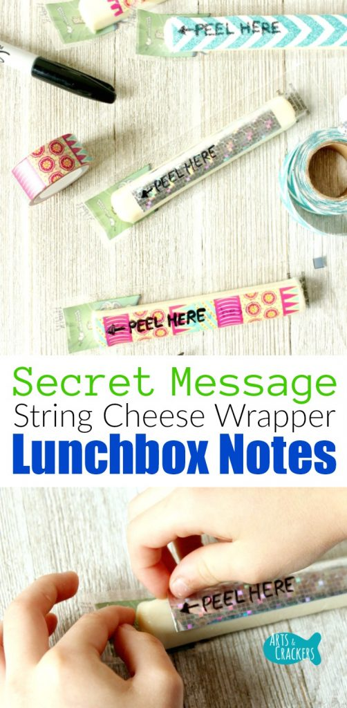 Make lunch time very special with Secret Message String Cheese Wrapper Lunchbox Notes, perfect for Back to School lunches and after school snacks.