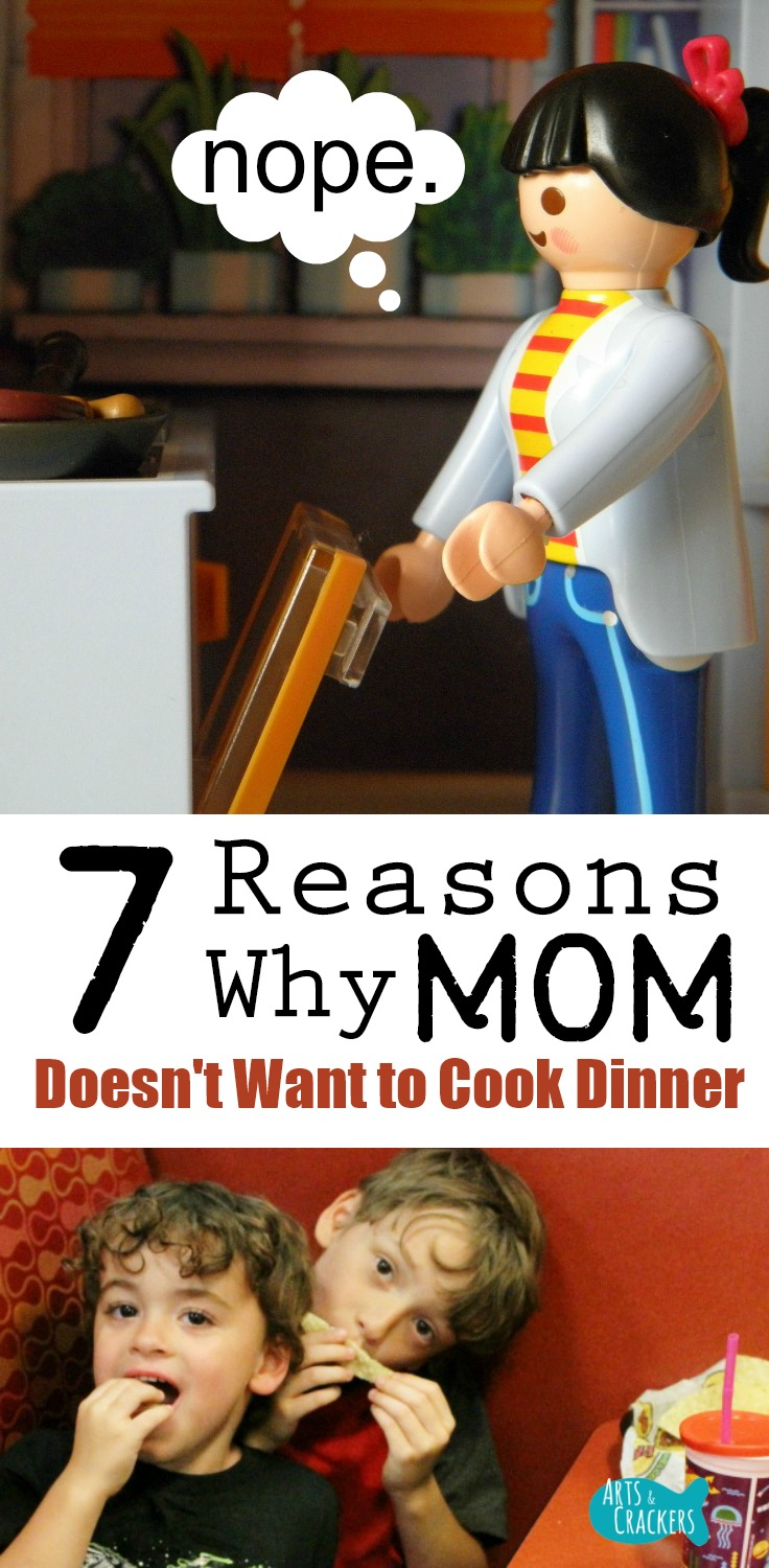 Sometimes Mom doesn't want to cook dinner. Whether it's picky eaters or cleaning up, you'll enjoy this humorous list of 7 reasons why moms don't like to cook | funny | parenting | mealtime | cooking