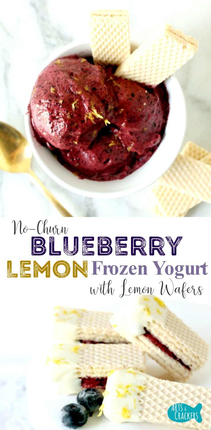 This creamy smooth Lemon Blueberry Frozen Yogurt with Lemon Wafers is no-churn and easy to make.