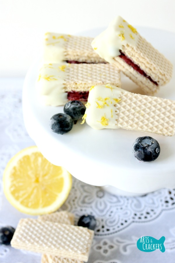 No Churn Blueberry Lemon Frozen Yogurt Wafer Sandwich Dipped Long
