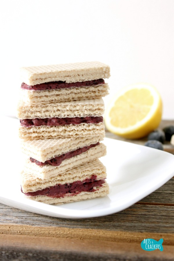 No Churn Blueberry Lemon Frozen Yogurt Wafer Sandwich Long