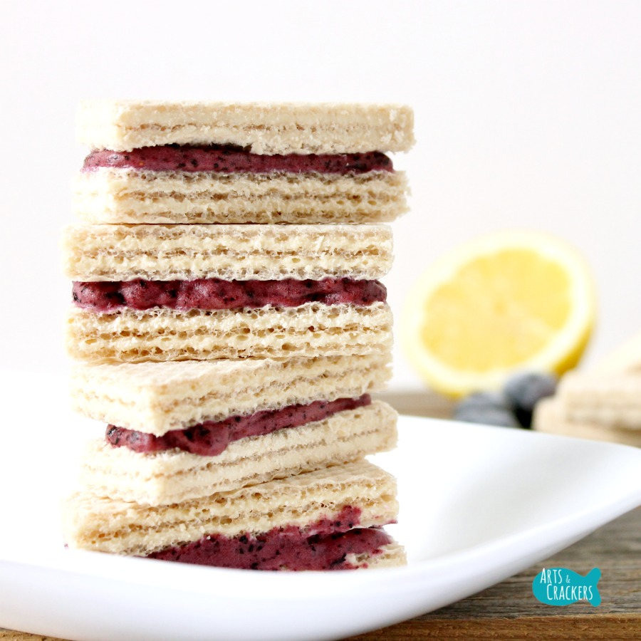 No Churn Blueberry Lemon Frozen Yogurt Wafer Sandwich Square