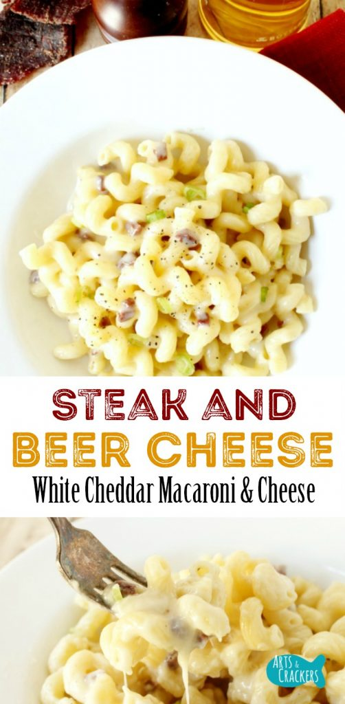 This Steak and Beer Cheese Homemade Macaroni & Cheese is a creamy dinner recipe the men will especially love.