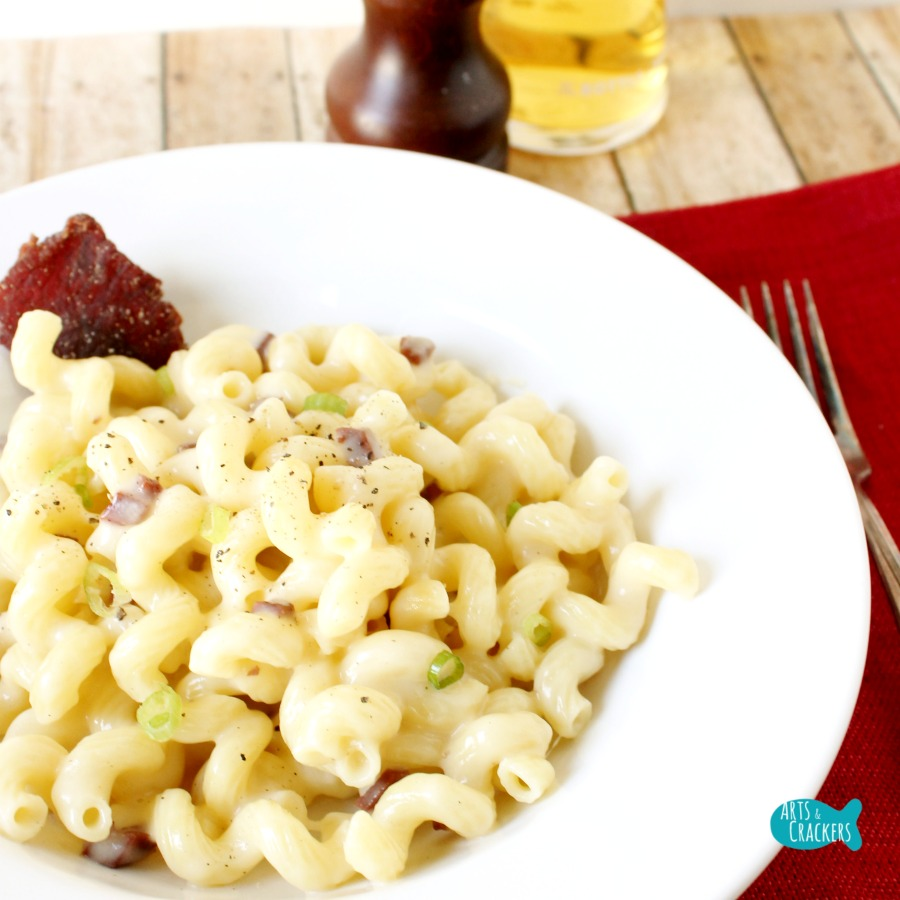 Steak and Beer Cheese Macaroni and Cheese Square