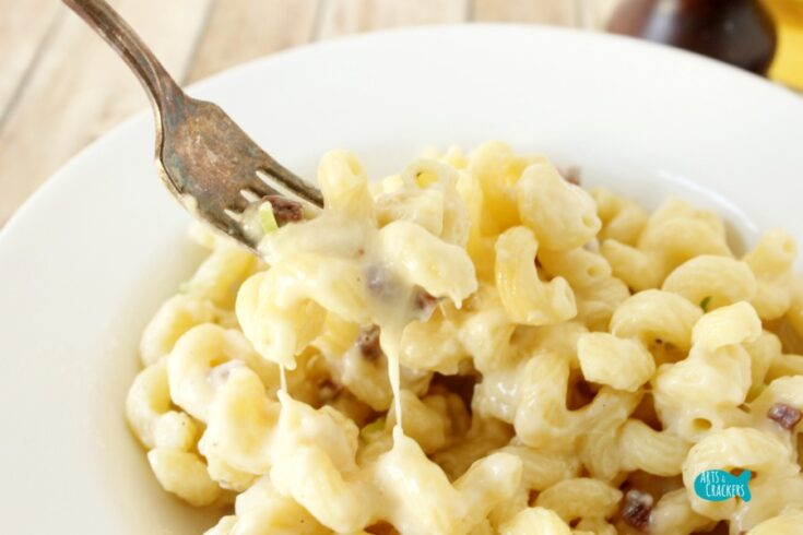 Steak and Beer Cheese Macaroni and Cheese Stringy