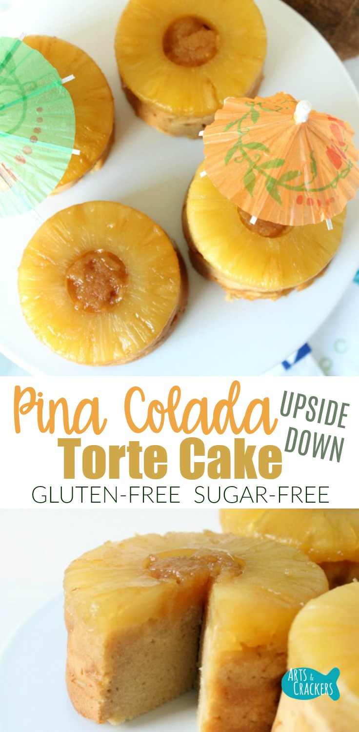 Celebrate fun and friendship with these mini Pina Colada Pineapple Upside Down Tortes. They are a deliciously dense and flavorful gluten-free cake and they are also sugar-free | Gluten Free | Torte Cake | Sugar Free Desserts | Gluten Free Baking | Baked Goods | Recipes | Mini Cake