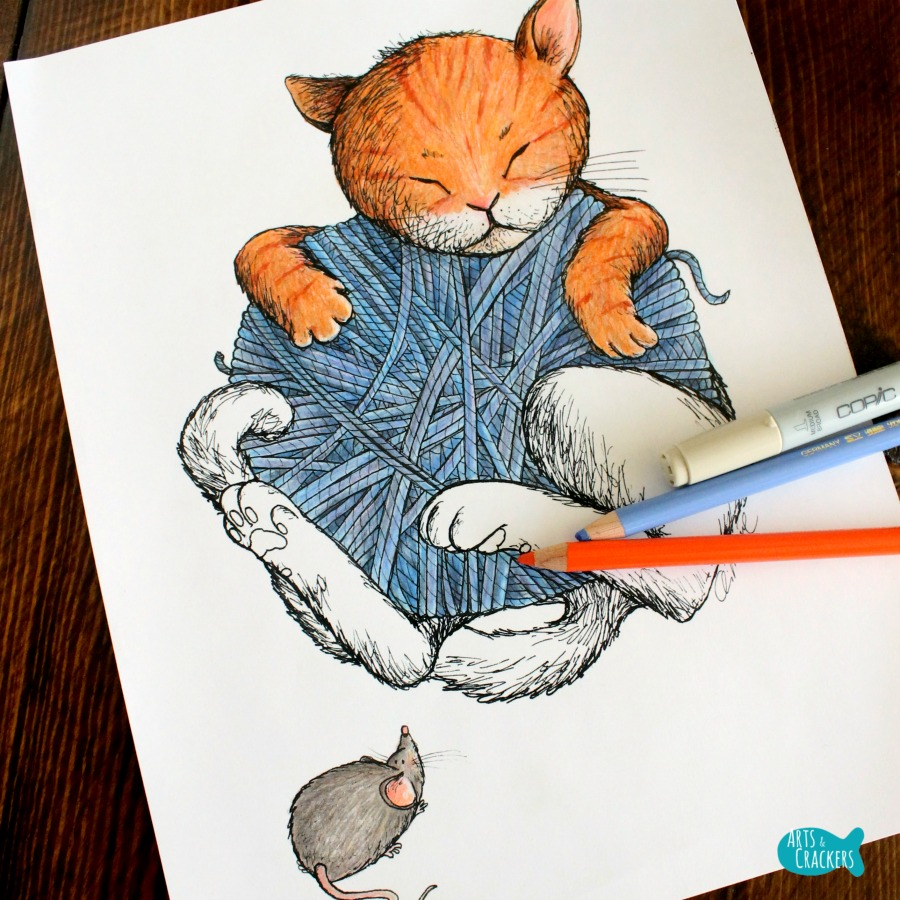 Cat Nap Vintage-Style Cat Coloring Page Angled Square