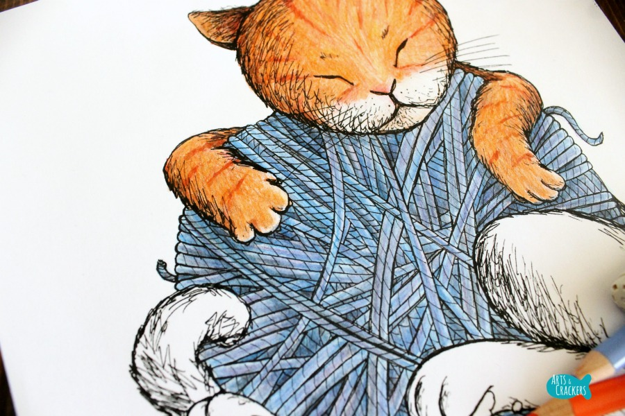 Cat Nap Vintage-Style Cat Coloring Page Close