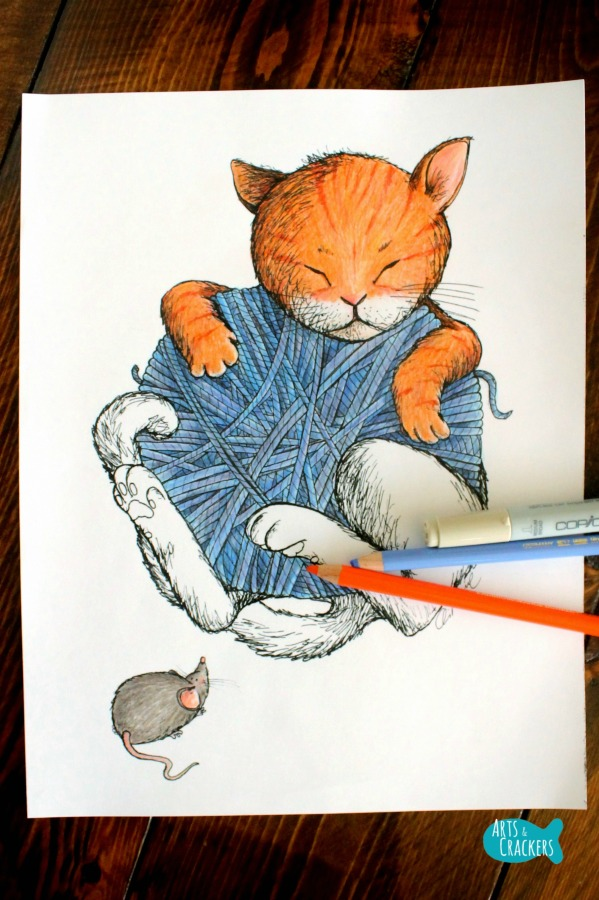 Cat Nap Vintage-Style Cat Coloring Page Long