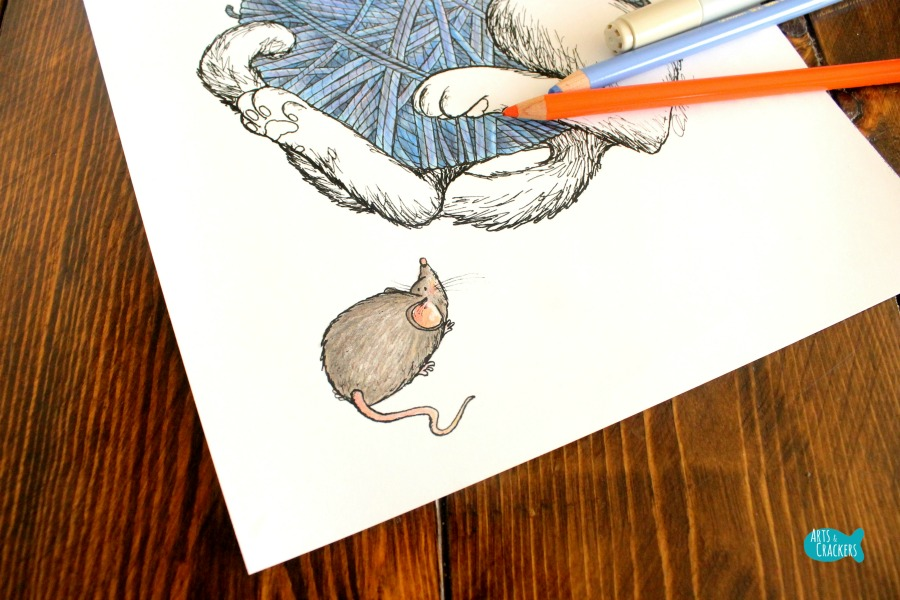 Cat Nap Vintage-Style Cat Coloring Page Mouse