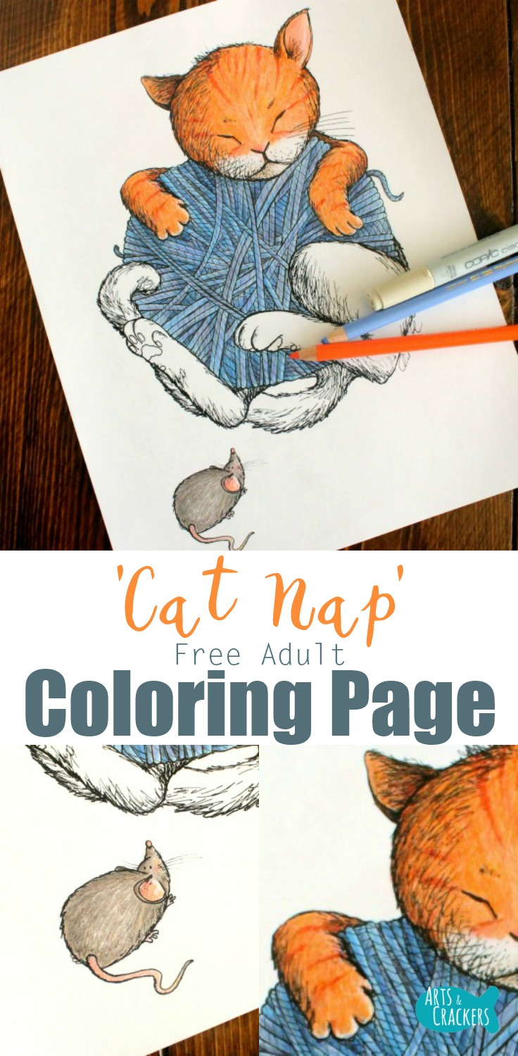 "Snuggle up with this adorable ""Cat Nap"" Vintage Storybook-style cat coloring page for adults 