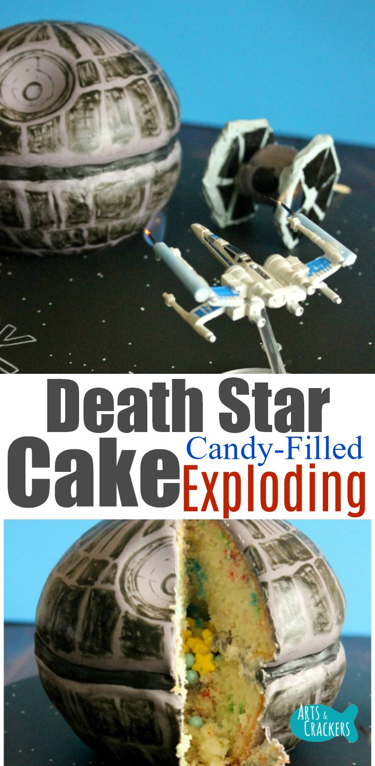 May the Force be with you as you make this super fun Death Star Cake, a candy-filled cake with Tie Fighter Cake Pops and a DIY cake stand that is out of this world | cake decorating | Star Wars | Death Star | X-Wing | Tie Fighter | Star Wars Food | Birthday Cake | Fun Cakes | Dessert | Birthday Party | Party Planning | Event Planning | Pinata Cake | Candy-Filled Cake | Cake Design | Star Wars Cake | Star Wars Party