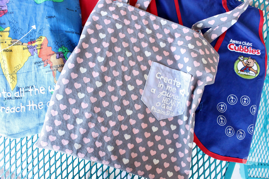 Give your child's Bible or AWANA book a special place with this DIY Bible Bag for Kids, an Easy-Sew Beginner Tote Bag Tutorial and Bible Bag Pattern; it also makes a fun, personalized AWANA bag.