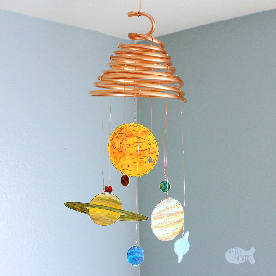 DIY Glow-in-the-Dark Solar System Mobile - Shrink Art Template
