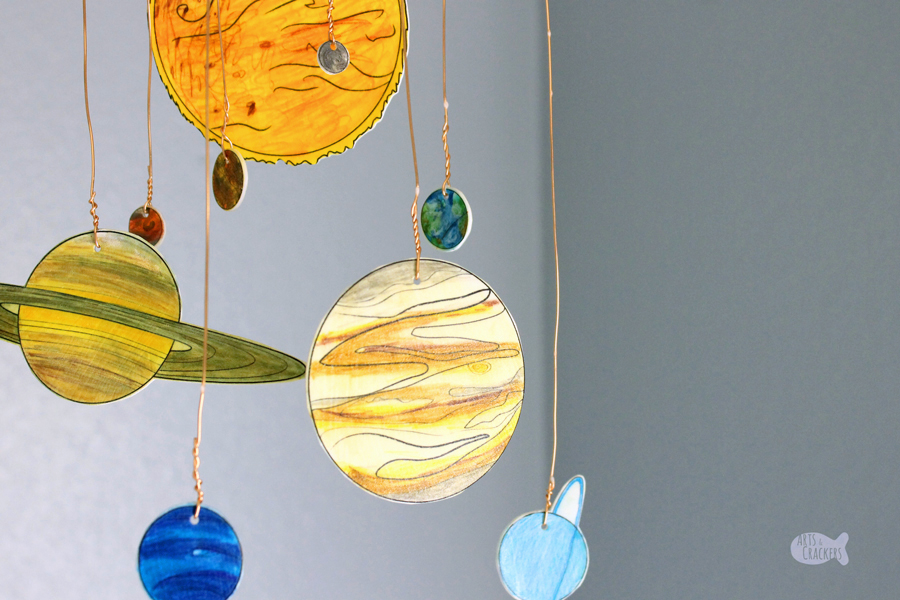 Diy glow in the dark solar system mobile shrink art template - Hanging planets decorations ...