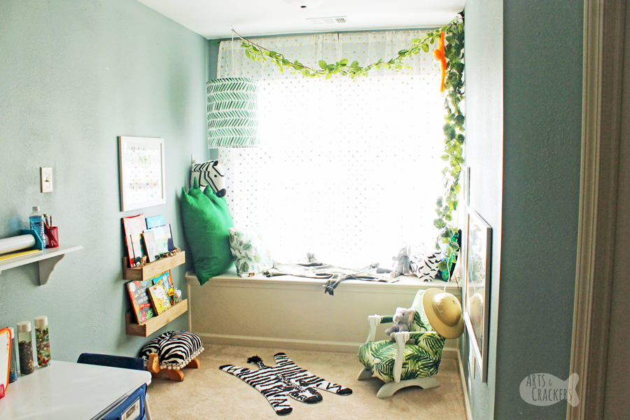 Get wild about reading with this gorgeous Jungle Book Nook Makeover - the perfect reading nook for big and little readers to get lost in a good book | Reading Corner | Book Nook | Jungle Animals | Minted Art | Book Lovers | Early Readers | Safari | Room Makeover | Interior Design | Home Decorating | Kids Room Ideas | Homeschool | Learning Center | Montessori | Minted Home