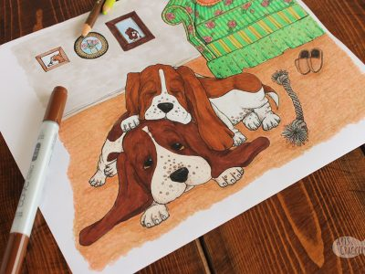 Basset Hound Life Vintage Inspired Dog Coloring Page For Adults