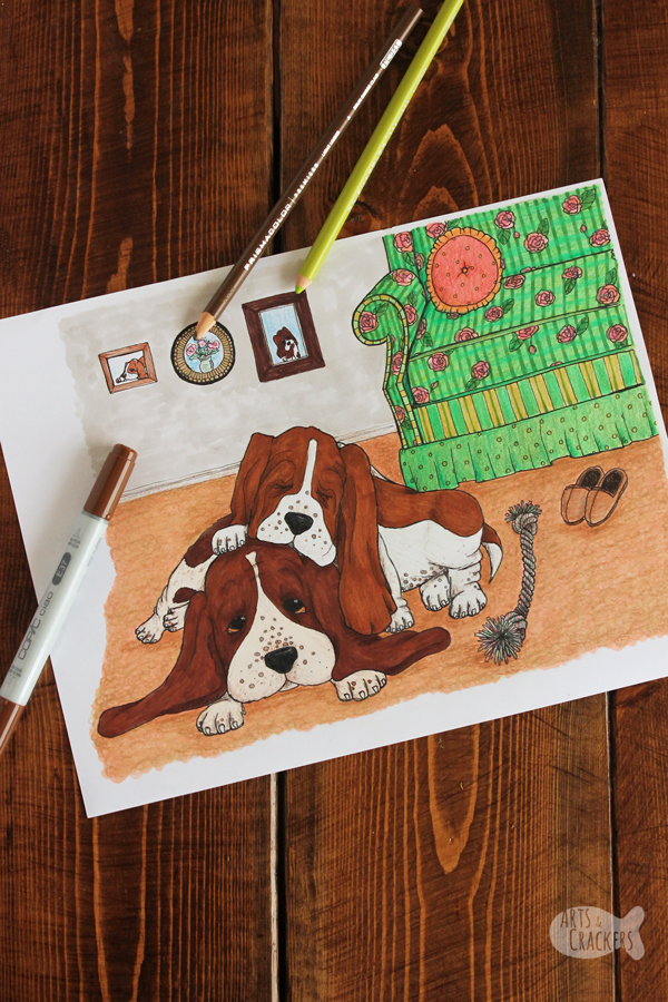 Two basset hounds snuggle together, Baby sleeping awkwardly on its mama in this vintage-style Basset Hound Life dog coloring page for adults | adult coloring | printables | puppies | stress relief | coloring therapy | #doglovers #coloringpage #artwork #printables #coloringbook #adultcoloring