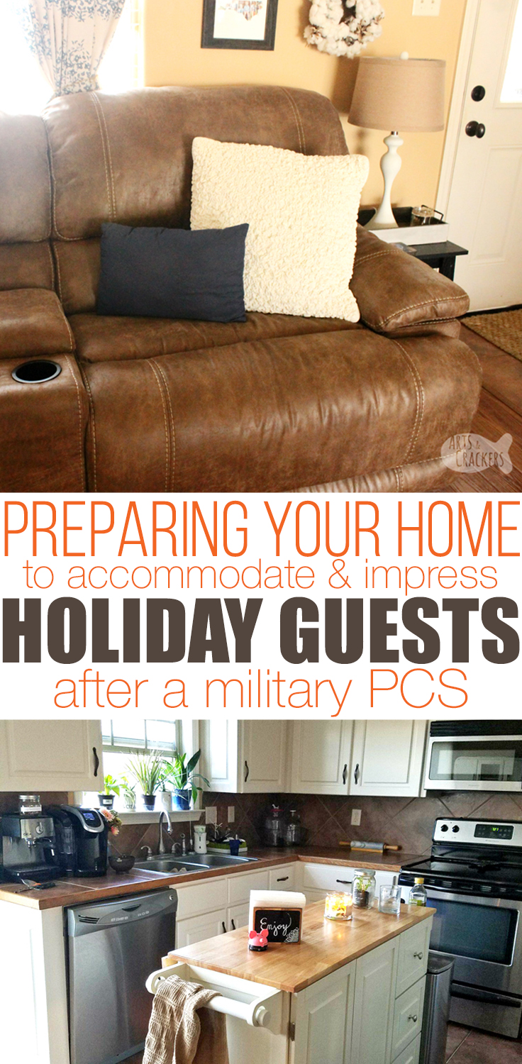 Make your military PCS move less stressful, plus find ways to impress and accommodate your guests for the holidays or everyday with these helpful (and creative) hacks | CORT | furniture rental | Christmas | entertaining guests | holiday entertaining | military family | PCS move | tips and tricks | military resources | moving | holiday decorating | #military #pcsmove #moving #homedecorating #entertainingguests #homemaking #homesweethome #newhome