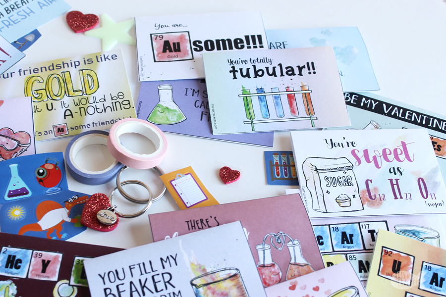 Print these Chemistry Valentines for Kids, with fun chemistry facts on the back and unique hand-drawn watercolor illustrations | Valentines for Kids | Printable Valentine's Day Cards