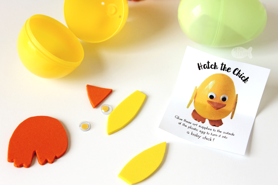"Have fun ""hatching the chick"" with this interactive plastic Easter egg craft and egg hunt activity 