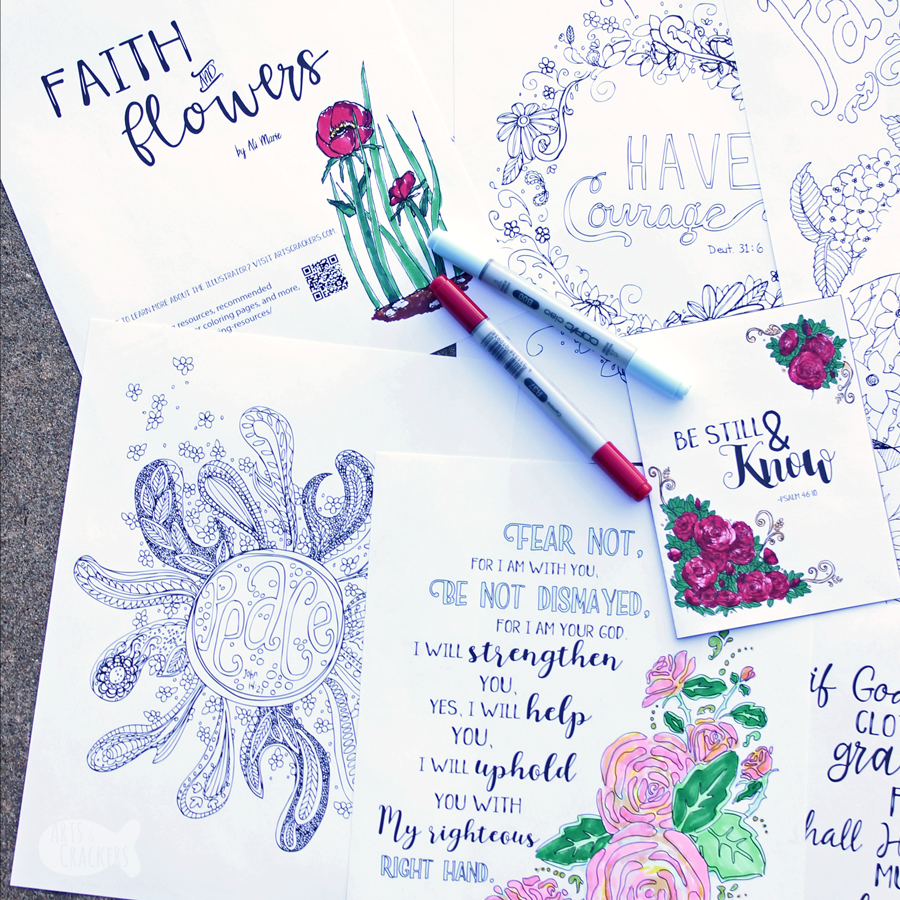Flowers And Faith Bible Verse Coloring Pages Mini Printable Set