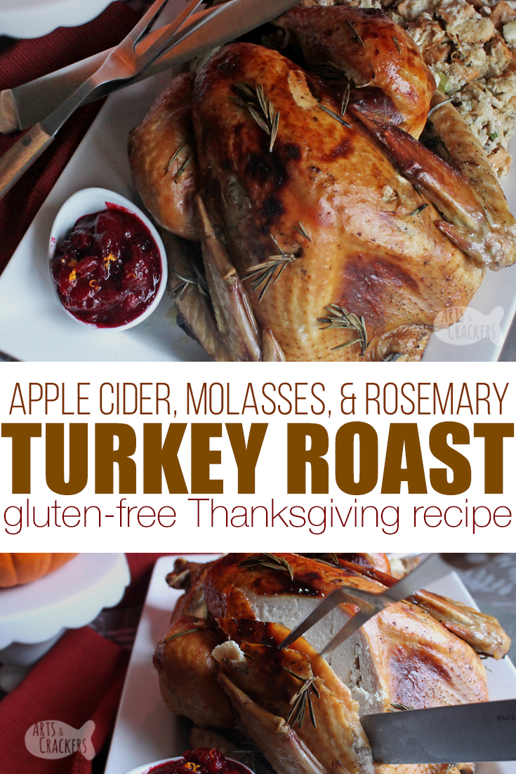 Celebrate Thanksgiving with this sweet and savory Rosemary Molasses Apple Cider Turkey Roast, and learn how to get the perfect brown, crispy skin! Perfect Thanksgiving Turkey | roast turkey | gluten-free gravy | baking a turkey | gluten free recipe | recipes with molasses | recipes with apple cider | turkey brine recipe | Thanksgiving turkey | Turkey recipe | Thanksgiving recipe #glutenfree #thanksgiving #recipe